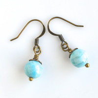 Blue drop earrings, amazonite earrings, gemstone earrings, amazonite bead earrings, natural earrings, women's jewelry, fall trends
