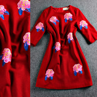 Red Flowers Embroidered A-Line Mini Dress