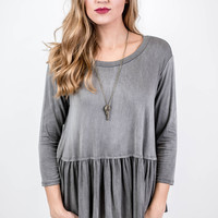 Washed Out Grey Ruffle Top