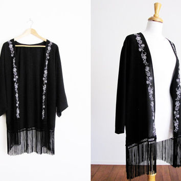 vintage sheer fringe black kimono robe / embroidered floral jacket boho duster
