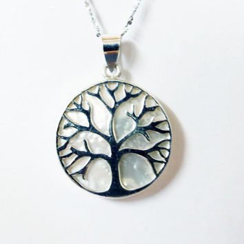 Tree-of-life Pendant, Mother Of Pearl Necklace Pendant, Sterling silver pendant, White Stone Pendant, Dauble Sized pendant, Unisex Pendant