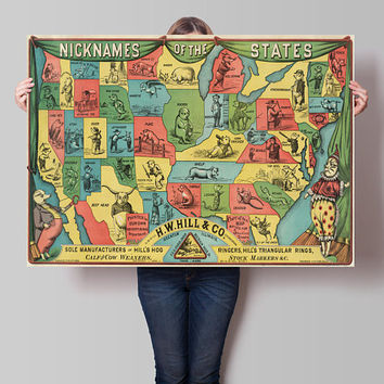 Nicknames of the States Cartoon Map| United States Pictorial Map| U.S. States Given Porcine Nicknames| Wall Decor Old Cartoon Map| AMC026