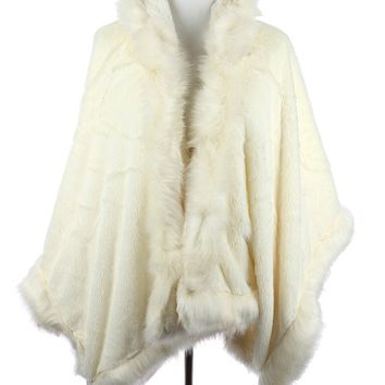 Faux Fur Trim Hooded Cape Poncho 31