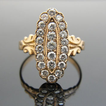 Victorian Cocktail or Dinner Ring, Rose Gold with .53 carat of Pave Diamonds RGDIA759D