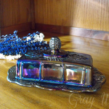 Vintage Iridescent Blue Carnival Glass Butter Dish w/ Lid by Indiana Harvest