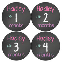 Personalized Baby Girl Monthly Stickers Style #502
