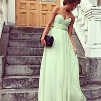 simple sage strapless sweetheat A line chiffon prom dress