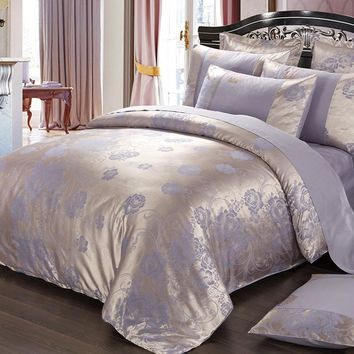 Purple flowers Satin Silk Jacquard Bedding Set Home Textile 4pc Luxury bedclothes bed linen sheet set cotton queen king Size