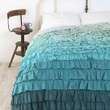 Tonal Waterfall Ruffle Duvet Cover