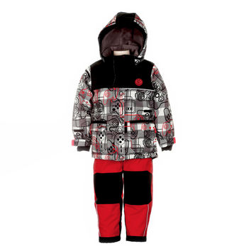 Deux Par Deux Snowsuit Boys Video Game Style 2-piece and Neck Warmer Grey Red