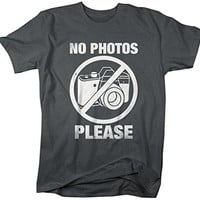 Shirts By Sarah Men's Funny T-Shirt No Photos Please Camera Photographer Shirts