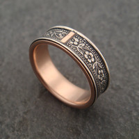 Wedding Ring with 14k Rose Gold Lining - Inlaid Petunia Band