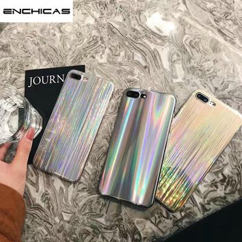 ENCHICAS Shiny Iridescent Holographic Laser Cases for iPhone X 6 6S 7 8 Plus Brushed Pattern Girls Thin Shell Cover Fundas Coque