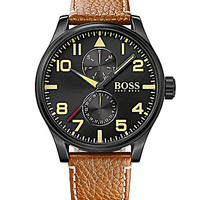 BOSS Hugo Boss Aeroliner Black Dial Multifunction Watch - Tan