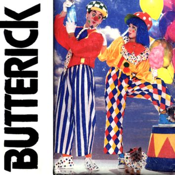 Adult Clown Costume Sewing Pattern UNCUT Butterick 6847 Chest 30 to 48 Unisex, Men, Women, Misses, Plus Size