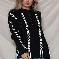 Loose Pullover Cut Out Knit Sweater