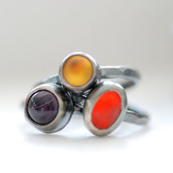 Glass Stacking Rings, Rustic Jewelry, Bezel Rings, Metalwork Rings, Blackened Silver Ring, Set of 3, Orange, Yellow, Purple, MADE TO ORDER