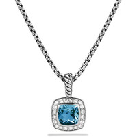 Petite Albion Pendant with Hampton Blue Topaz and Diamonds on Chain - David Yurman
