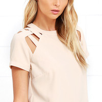 Uptown Doll Beige Crop Top