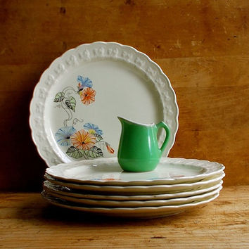 Vintage Lunch Plates - Taylor Smith USA - Morning Glories - Lot of Six - 1950s - Cottage and Retro Decor
