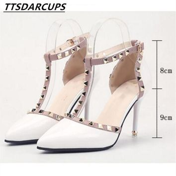2018 new style Nude color rivet High-heeled women Sandals stiletto heel Patent leather Bandage Hollow Tip Baotou women's shoes