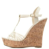Basket-Woven T-Strap Wedge Sandals by Charlotte Russe