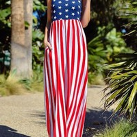 Multicolor Striped American Flag Print Pockets Sleeveless Casual Maxi Dress
