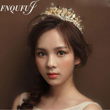 DCCKU62 Baroque Crown Wedding Hair Accessories Tiaras And Crowns Crystal Bridal Head Jewelry Mariage Ornament