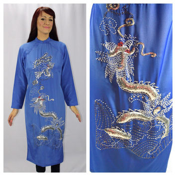SILVER DRAGON Amazing Vintage Southeast Asian Tunic With Beaded Detail