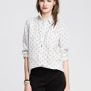 Banana Republic Womens Skull Print Boyfriend Shirt