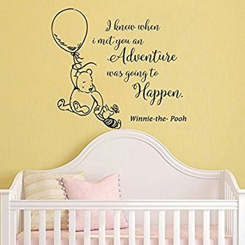 Classic Winnie The Pooh Wall Decals Quotes I knew when i met you an Adventure, Winnie The Pooh And Piglet Wall Decals Nursery Kids Room Decor MN104