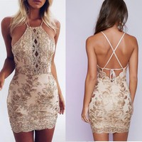 Fashion Gold Line Stitching Embroidery Flower Sleeveless Backless Strap Mini Dress