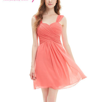 Wedding Party Dress EP03539  Elegant Ruffles Padded knee length Chiffon short Bridesmaid Dress
