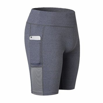Women's Yoga Shorts Side Pockets Fitness Stretch shorts Quick-Dry Perspiration Five-point Sweatpants Breathable Running Tights