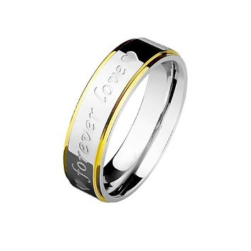 Forever Love - Couples Stainless Steel Two Tone Gold And Steel Stepped Edge Engraved Ring