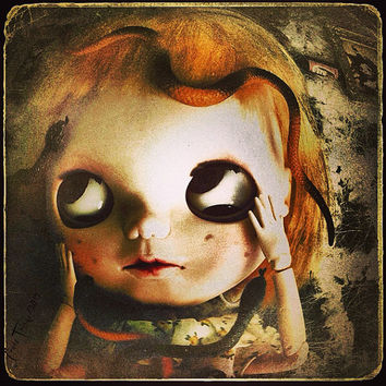 Gothic Wall Art, Dark Photo Print, 4x4 8x8 10x10 13x10 Art Blythe Doll Portrait Fine Art strange Photography. Home Decor