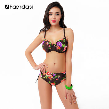 Faerdasi 2017 Sexy Floral Bikini Set Push Up Swimwear Low Waist Plus Size Bathing Swimsuit With Drawstrings FD81556