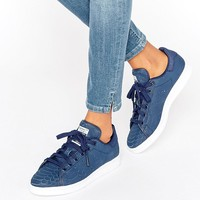 adidas Originals Navy Embossed Snake Suede Stan Smith Sneakers