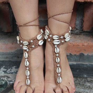 DCCKWQA New Handmade Knitted  Natural Shell Lace Anklet Summer Women Ankle Foot Jewelry Bohemian Barefoot Sandals   High Quality