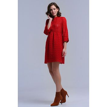 Red Round Neck Crochet Midi Dress