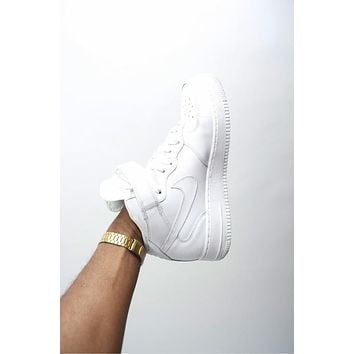 NIKE Air Force Popular Women Men Classic High Help And Low Help Running Sport Shoes Sneakers Pure White HIGH QUALITY I