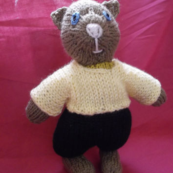 Brown kitten with lemon sweater and hat - knitted toy - One of a Kind
