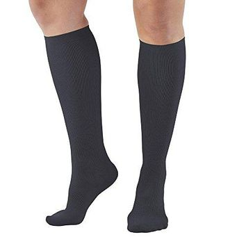 Ames Walker AW Style 167 Womens Travel 1520mmHg Moderate Compression Knee Compression Socks Tan Medium  Relieves tired aching swollen legs symptoms of varicose veins  Fashionable rib knit
