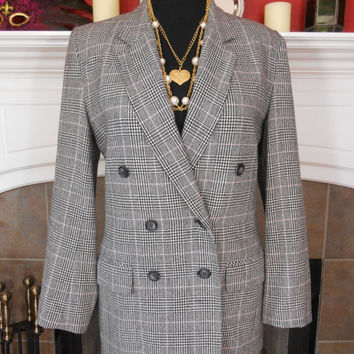 Pendleton, 100% Virgin Wool, Double Breasted, Buttoned Front, Fully Lined, Plaid, Suit Jacket, Size 8 Tall - Mint Condition