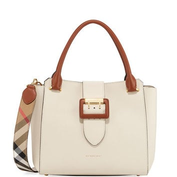 Burberry Medium Soft Grain Leather Buckle Tote Bag | Neiman Marcus