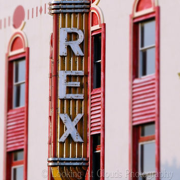 retro theater sign - deco fine art photo - - 8x10 vintage REX movie theater neon sign marquee