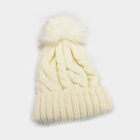Women's Ivory Cable Knit Faux Fur Pom Pom Beanie Hat