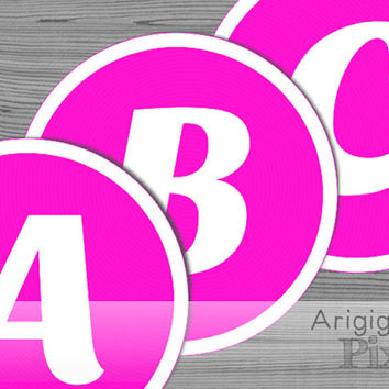 6 in large pink alphabet, number circle, white on hot pink backgroung,  printable PDF files, banner letters, party  decor, instant download