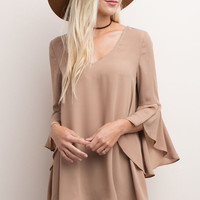 Taupe Bell Sleeve Blouse