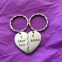 Couples Keychain Set - Broken Heart Keychain Set - I love you, I know - Personalized Keychain - His and Hers Keychain - Custom Keych